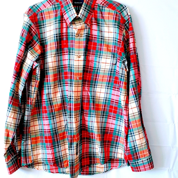 Gant button-down plaid size large red /green Y112